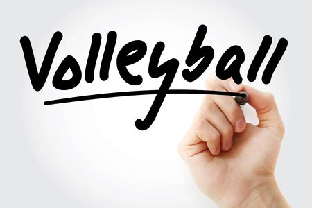 Hand writing Volleyball with marker, sport concept background