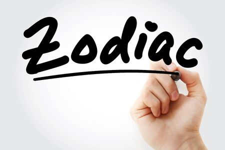 Hand writing Zodiac with marker, concept background