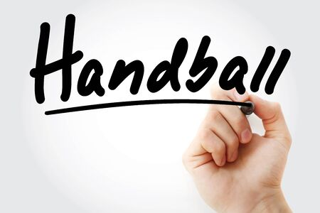 Hand writing Handball with marker, concept background