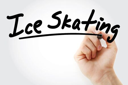 Hand writing Ice skating with marker, concept background Archivio Fotografico