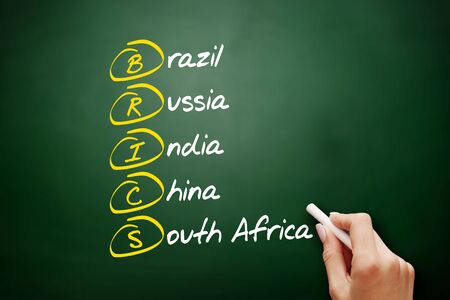 BRICS - Brazil, Russia, India, China, South Africa trade union acronym, business concept background