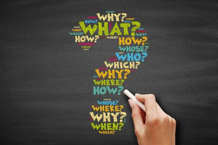 Question mark - Questions whose answers are considered basic in information gathering or problem solving, word cloud concept Stock Photo
