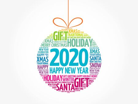 Happy New Year 2020, Christmas ball word cloud background