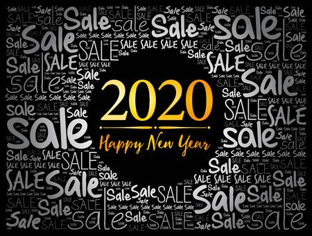 2020 Happy New Year. Christmas Sale word cloud background