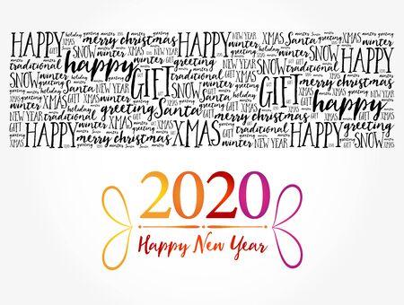 2020 Happy New Year. Christmas background word cloud, holidays lettering collage Illusztráció