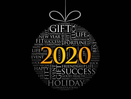 Happy New Year 2020, Christmas ball word cloud, holidays lettering collage