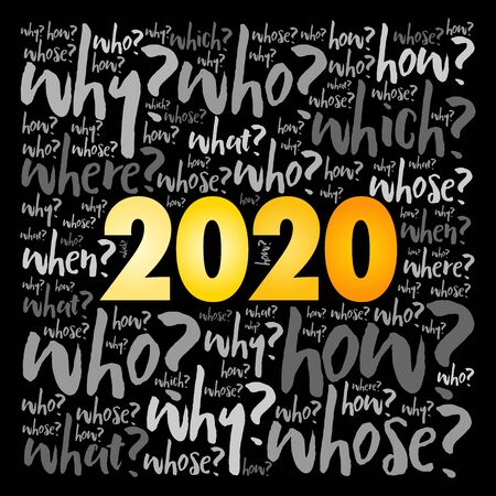 2020 year problem questions word cloud, business concept background