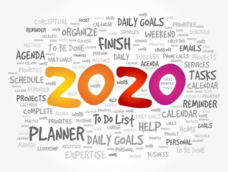 2020 New Year Goals word cloud, business concept background