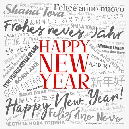 2020 Frohes neues Jahr in verschiedenen Sprachen, Feier-Wortwolken-Grußkarte Vektorgrafik