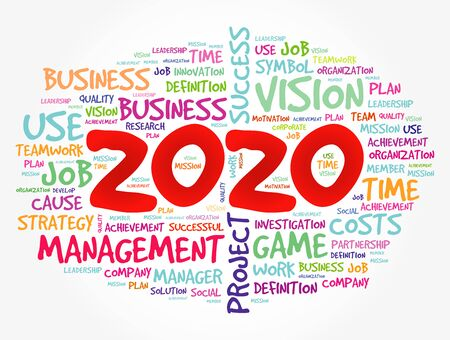 2020 Goals word cloud collage, business concept background