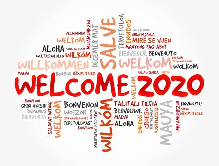 WELCOME 2020 word cloud in different languages, conceptual background Vector Illustratie