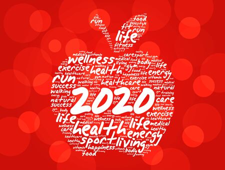 2020 apple word cloud collage, health concept background