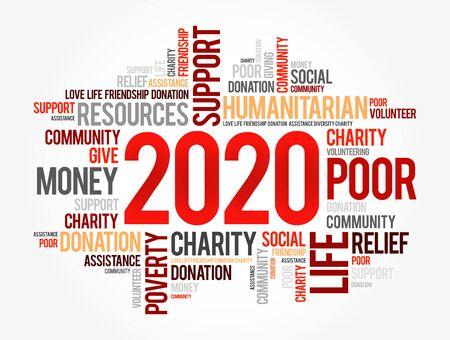 2020 helfen Wortwolkencollage, Konzepthintergrund Vektorgrafik