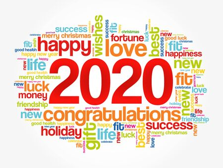 2020 year greeting word cloud collage, Happy New Year celebration greeting card Vettoriali