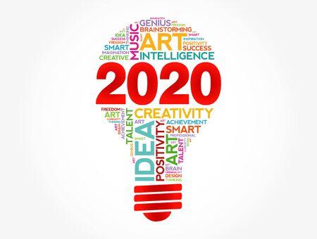 2020 ideas creativas bombilla palabra nube collage, concepto de fondo