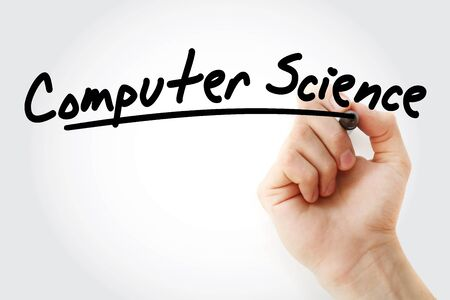 Hand writing computer science with marker, technology concept background