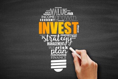 Invest light bulb word cloud, business concept on blackboard