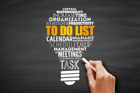 To Do List ampoule nuage de mots collage, fond de concept d'entreprise Banque d'images