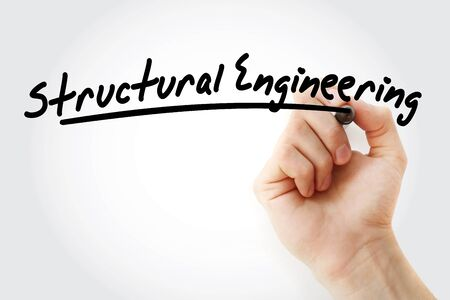 Hand writing structural engineering with marker, concept background