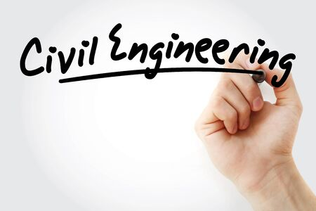 Hand writing civil engineering with marker, concept background