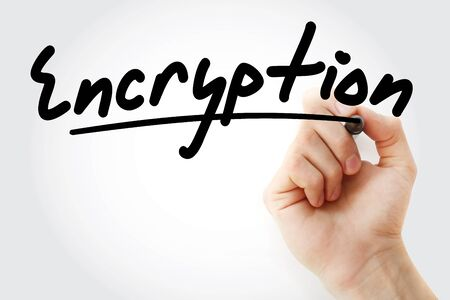 Hand writing Encryption with marker, concept background