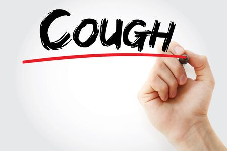 Cough text with marker, concept background Imagens