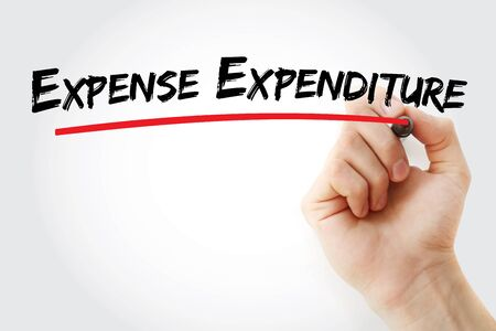 Expense Expenditure text with marker, concept background