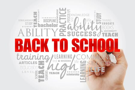 Back to School word cloud collage, education concept background Zdjęcie Seryjne