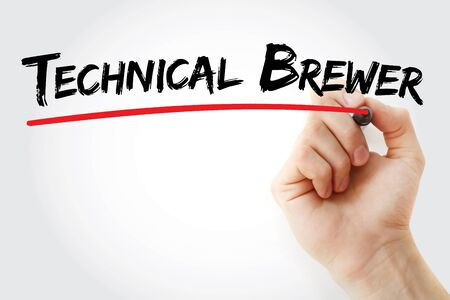 Technical Brewer text with marker, concept background