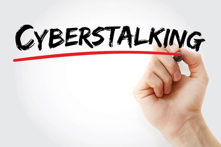 Cyberstalking text with marker, concept background Stok Fotoğraf