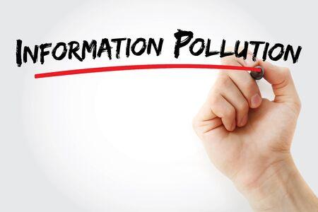 Informationsverschmutzungstext mit Markierung, Konzepthintergrund