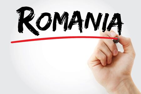 Romania text with marker, concept background