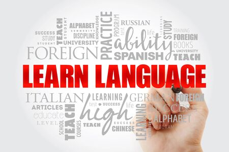 Learn Language word cloud, education business concept background
