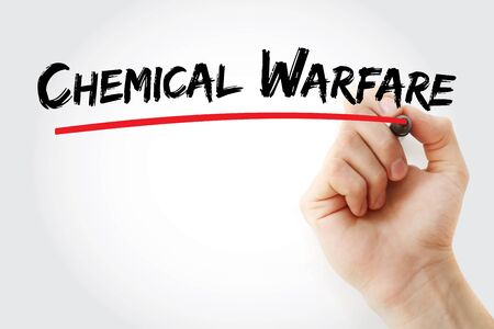 Chemical Warfare text with marker, concept background