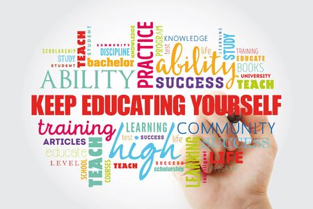 Bilden Sie sich weiter Wortwolkencollage, Hintergrund des Bildungsgeschäftskonzepts