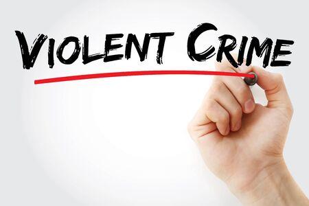 Texte de crime violent avec marqueur, arrière-plan concept
