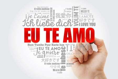 Eu Te Amo (I Love You in Portuguese) love heart word cloud in different languages of the world