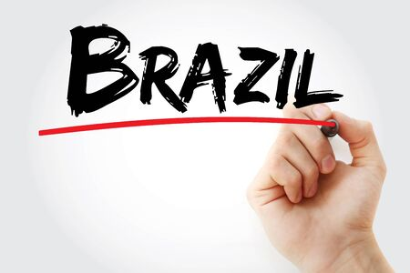 Brazil text with marker, concept background