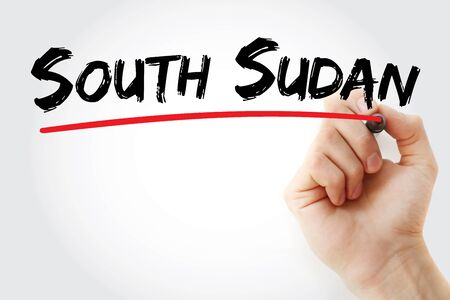 South Sudan text with marker, concept background