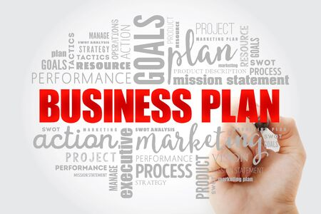 Business plan word cloud collage, business concept background Zdjęcie Seryjne