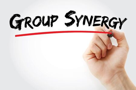 Group Synergy text with marker, concept background