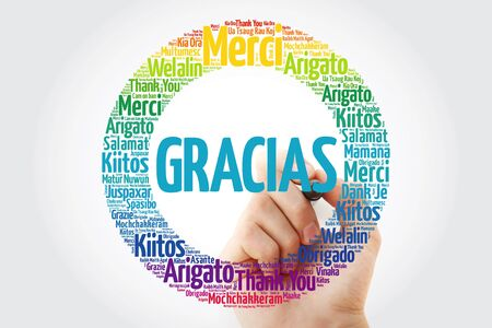 Gracias (Thank You in Spanish) word cloud in different languages with marker Banco de Imagens