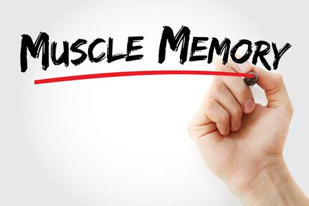 Muscle memory text with marker, concept background