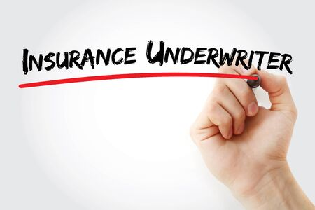 Insurance underwriter text with marker, concept background