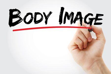 Body image text with marker, concept background Zdjęcie Seryjne