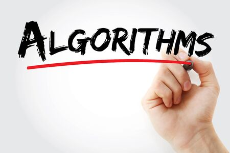 Algorithms text with marker, concept background 스톡 콘텐츠