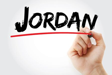 Jordan text with marker, concept background