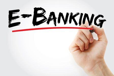 E-Banking-Text mit Marker, Konzepthintergrund Standard-Bild
