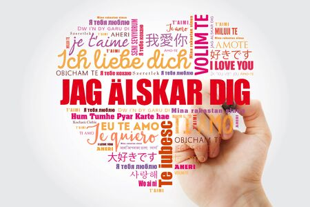 Jag alskar dig (I Love You in Swedish) love heart Word Cloud in different languages of the world