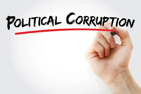 Political Corruption text with marker, concept background